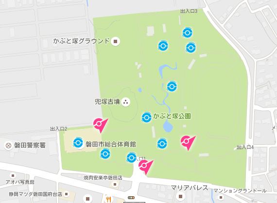 磐田市のポケストップ密集地域 かぶと塚公園