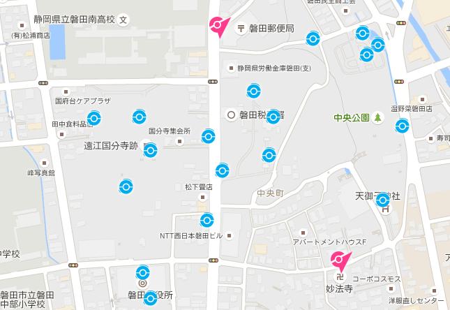 磐田市ポケストップ密集地域 中央公園
