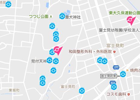 磐田市のポケストップ密集地域