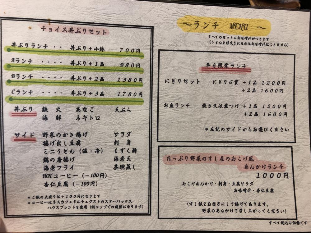 磐田市:「肴家 魚彦」メニュー